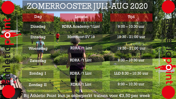 Zomer trainingsrooster